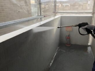 瑞浪市でマンション外壁塗装 高圧水洗浄