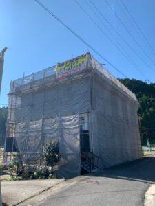 中津川市で3階建ての屋根外壁塗装工事がスタートします