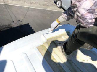 多治見市で作業車の塗り替え 下塗り塗装