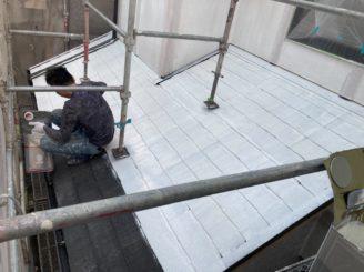 多治見市で屋根外壁塗装 屋根下塗り塗装