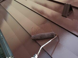 多治見市で屋根外壁塗 屋根上塗り塗装