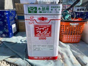 中津川市坂下で日本ペイントの木部専用塗料のウレタンクリヤーにて木部の塗装を行います。