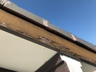 春日井市で屋根外壁塗り替え塗装 前 破風板の捲れ