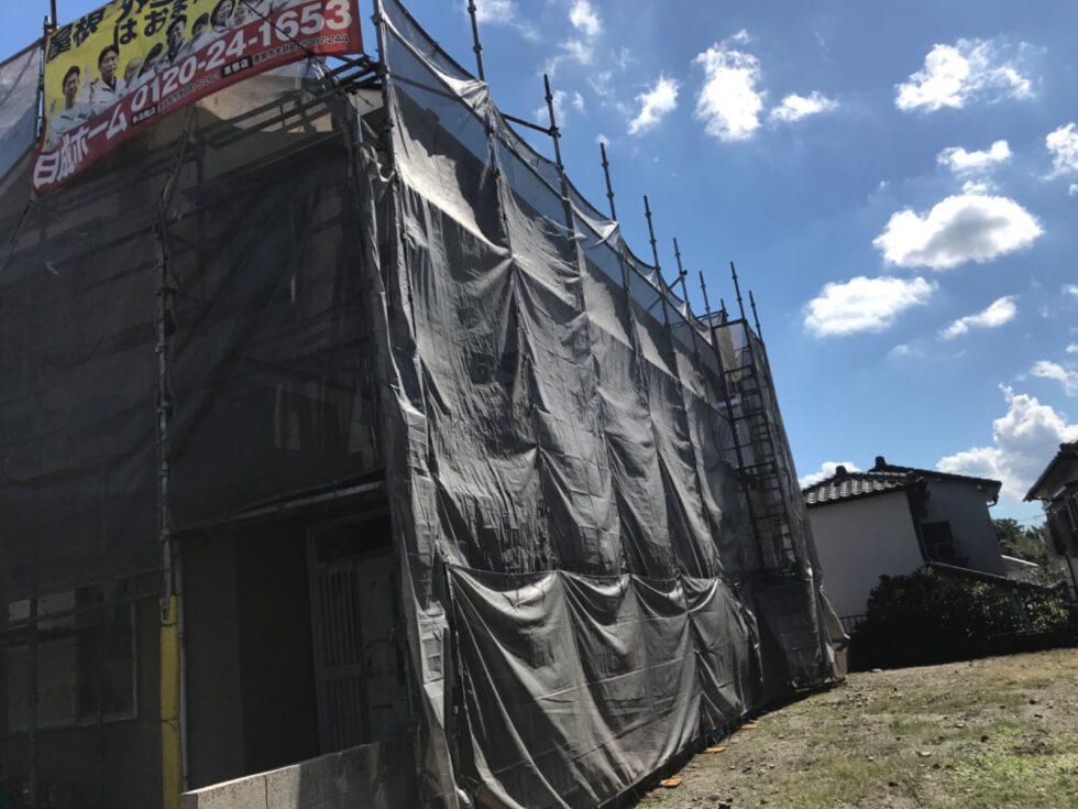 可児市で屋根外壁塗装 足場の設置完成