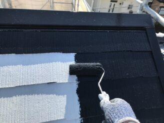 多治見市で屋根外壁塗装 屋根の塗り替え 中塗り塗装