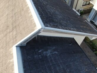 多治見市で屋根外壁塗装 現調時の屋根の状態 ドローンで撮影
