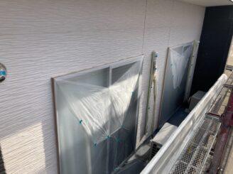 多治見市で外壁塗装 ベランダ防水工事 養生の完成