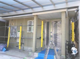 春日井市で外壁の塗り替え塗装 養生完成