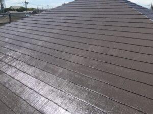 中津川市、屋根の上塗り塗装