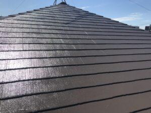 中津川市、屋根の上塗り塗装、完了