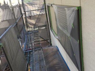 多治見市で外壁塗装 窓養生完成