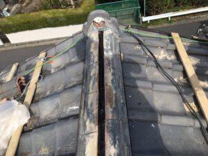 多治見市で和瓦の修理。棟の積みなおし工事です!