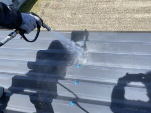 恵那市岩村町、屋根の高圧水洗浄