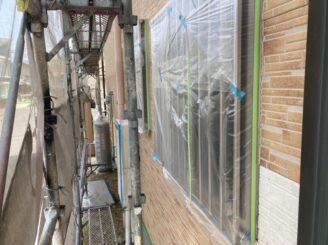 瑞浪で外壁塗装 窓廻り養生完成