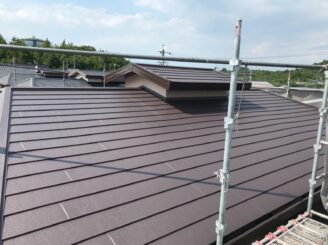 可児市で屋根カバー工法 ガルバ ガルバニウム鋼板 外壁フッ素塗装 塗り替え工事