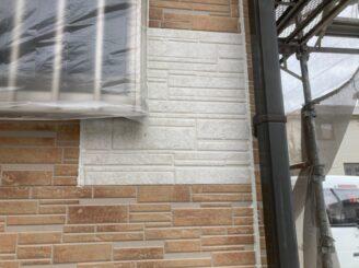 瑞浪で外壁の塗り替え塗装 外壁の下塗り塗装 タイル面