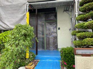 可児 屋根カバー工法  ガルバ 外壁塗装 養生