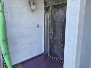岩村町、外壁の下塗り塗装、完了