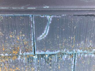 多見市で屋根外壁塗装 現調時 下見 家の状態  屋根の状態 塗り替え前 カビ コケ かび 苔 亀裂 ひび割れ