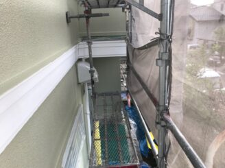 多治見市で屋根外壁塗り替え塗装 シリコン塗装 上塗り完成 防カビ材