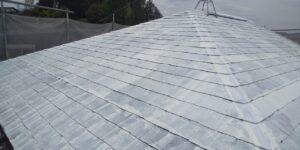 中津川市、屋根の下塗り1回目塗装完了