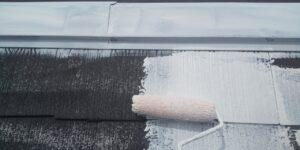 中津川市、屋根の下塗り1回目塗装