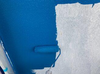 多治見市で屋根外壁塗装 塗り替え塗装 外壁塗装中