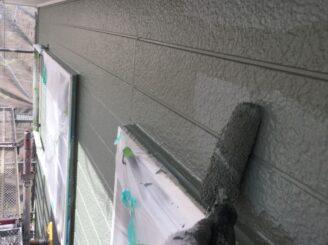 多治見市で屋根積み替え 外壁塗り替え塗装 外壁上塗り塗装