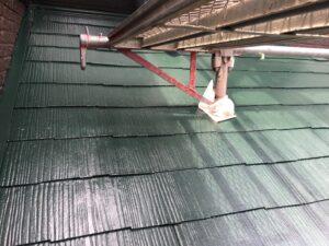 中津川市、屋根の中塗り塗装完了