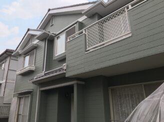 多治見市 瑞浪市 屋根積み替え 外壁塗り替え塗装  外壁色の退色 塗膜剥離 塗り替え後 グリーン系塗料