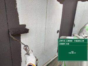 恵那市大井町で超低汚染塗料で外壁の中塗り塗装を行いました。