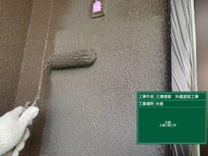 恵那市大井町で低汚染リファインMF塗料で外壁の上塗り塗装です。