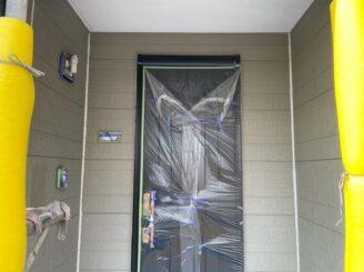 土岐市 瑞浪市 屋根外壁塗り替え塗装工事 外壁目地打ち替え コーキング シーリング 養生完成 玄関養生